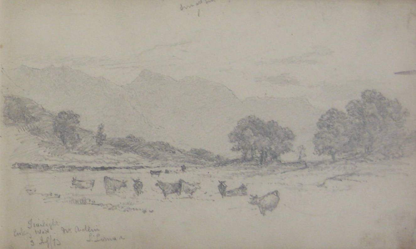 Detail of a landscape from Robert Brydall's sketchbook, 1873