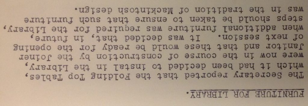 Extract from Meeting of Library and Materials Committee 2 June 1938 (Archive reference: GSAA/GOV/2/18)