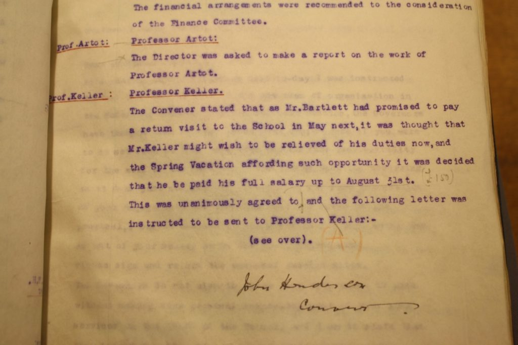 Extract from The Glasgow School of art governor's minutes (GSAA/GOV/2/9)