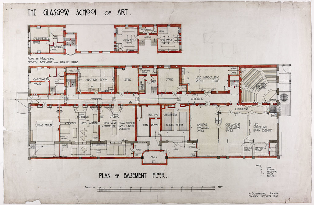 Design for Glasgow School of Art: Plan of Basement Floor (Archive reference: MC/G/82)