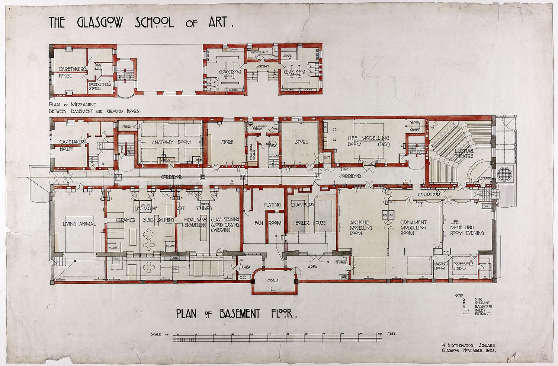 Design For Glasgow School Of Art Plan Of Basement Floor Archive Reference Mc G 82 Gsa Archives Collections Gsa Archives Collections