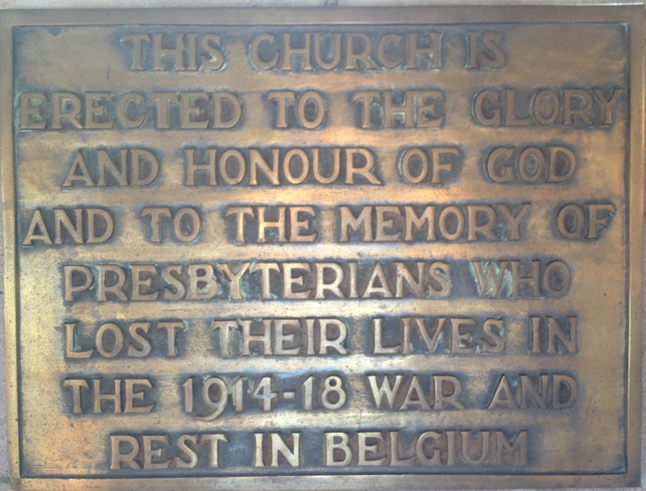 Plaque at St Andrews Church of Scotland, Ixelles, Belgium. Image courtesy of Wikipedia (https://commons.wikimedia.org/w/index.php?curid=27385441)