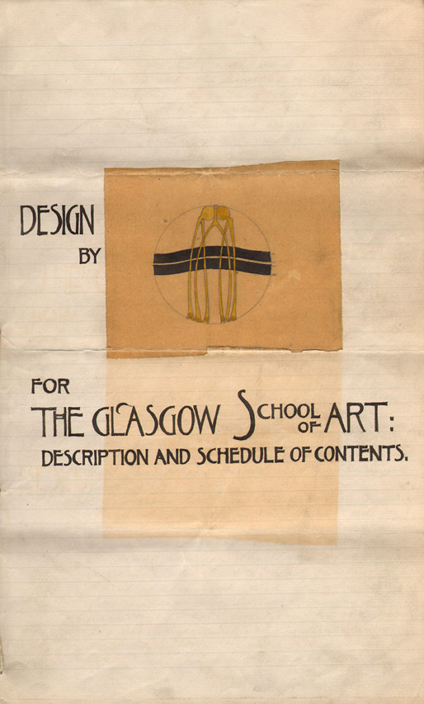 Architect's Design for Glasgow School of Art with a description and schedule of its contents, GSA Archives and Collections (archive reference: GSAA/GOV/5/4/10 page 1)