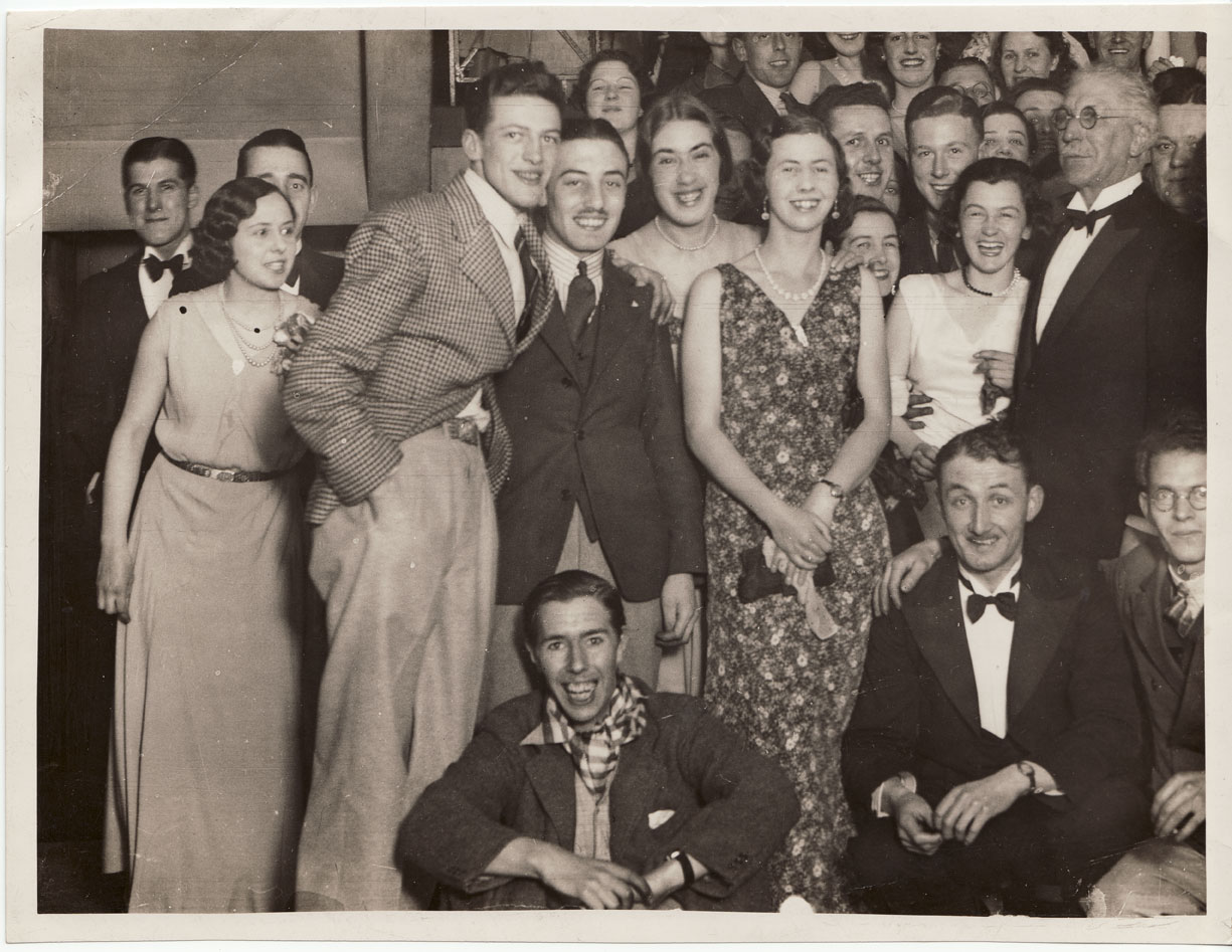 Glasgow School of Art staff group at a dinner dance, featuring Margaret Grant, GSA Archives and Collections (archive reference: GSAA/P/1/7)