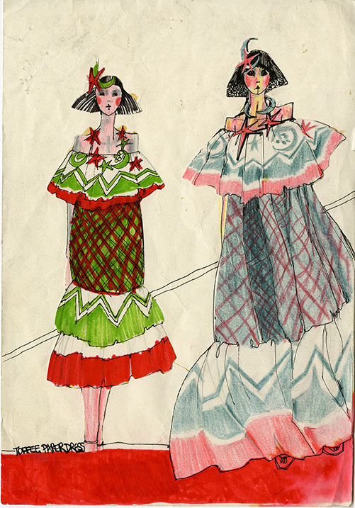 """Sheila MacDonald's illustration for """"Pennie Daintee"""" dresses. Archive Reference: JAC/42."""