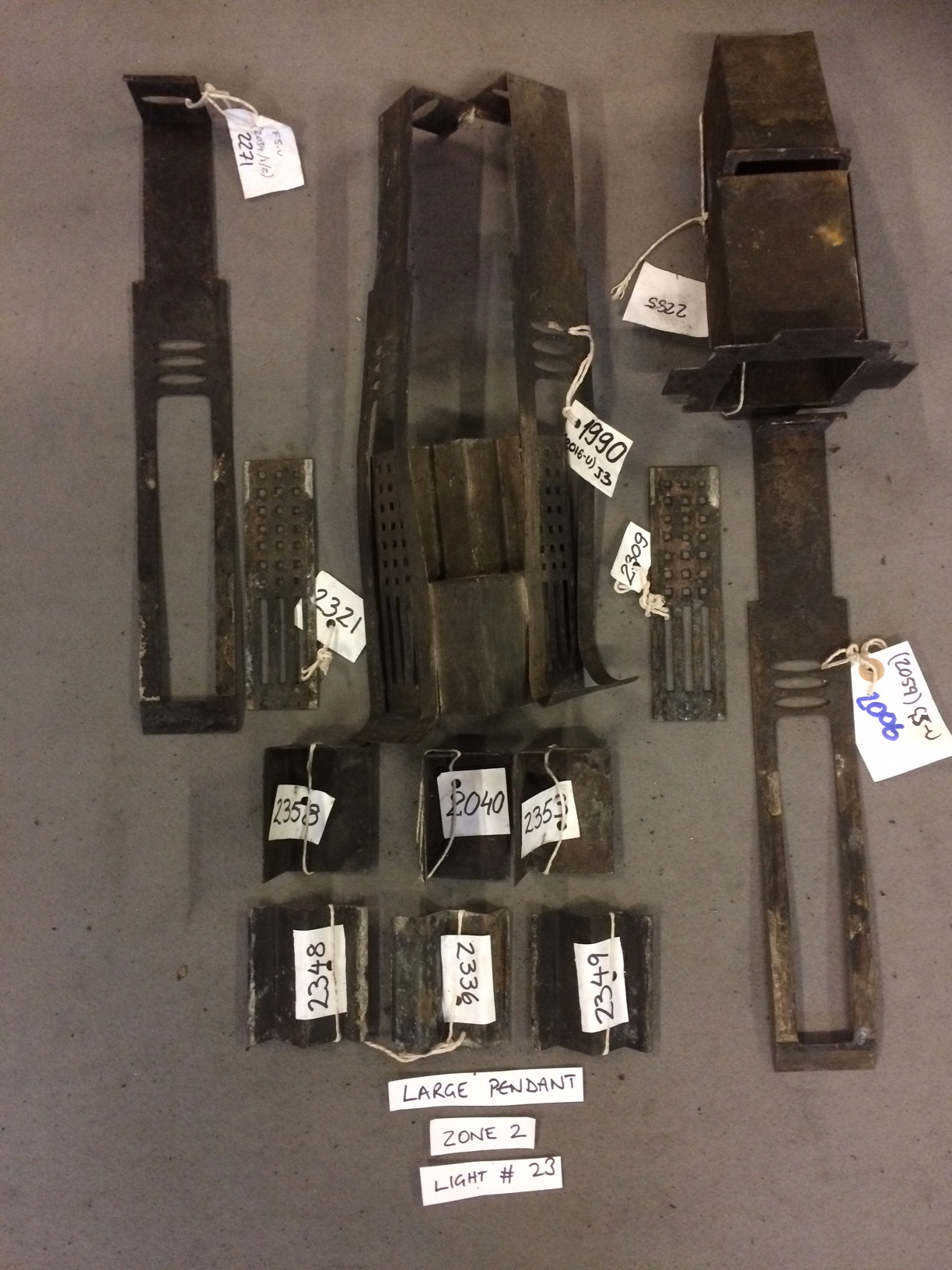 Rescued fragments of a light fitting from the Mackintosh Library.
