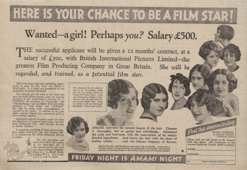 British International Pictures advert for actresses. Image courtesy of The Hitchcock Zone.