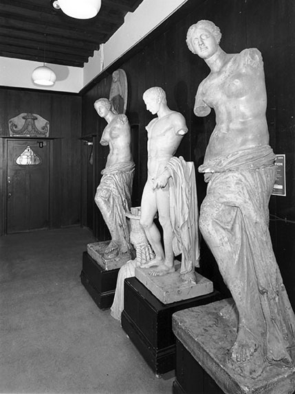 Photograph showing plastercasts in corridor of the Mackintosh Building. (Archive Reference: GSAA/P/7/364/14)