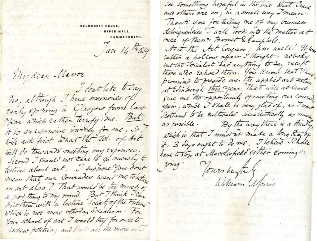 Letter from William Morris to 'Mavor' (DIR/5/38/1/1a)