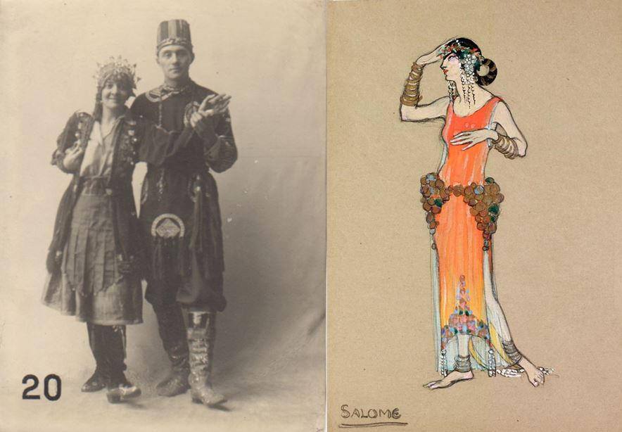 Photograph of Dorothy Carlton Smyth in costume (PSAA/P/1136) and her costume design for Salome (NMC/098C).