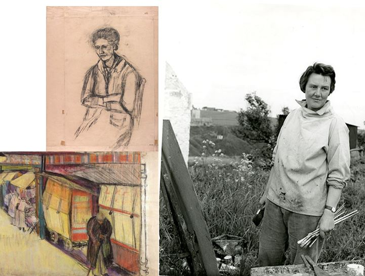 Eardley sketches (NMC/079 & NMC/087) and photograph of Eardley painting in the countryside, 1961 (GSAA/P/1/1275).