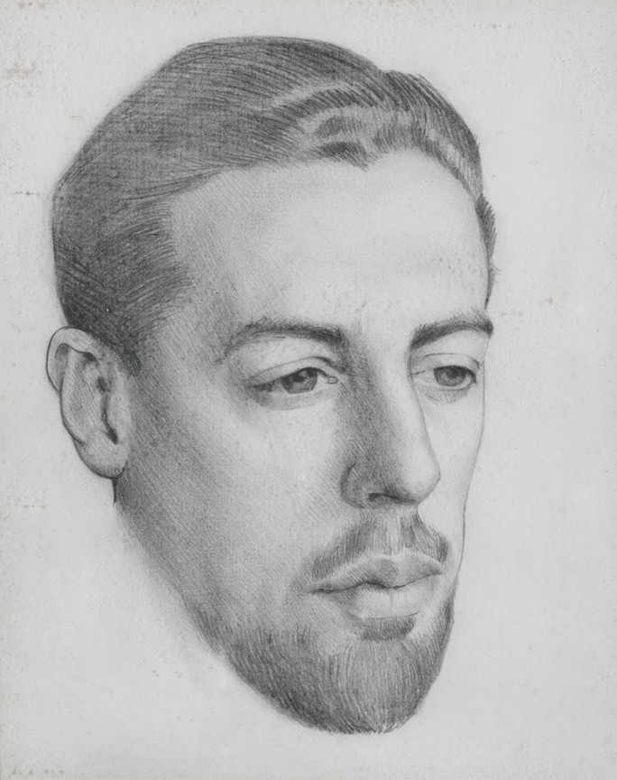Portrait of Robert George Sang Mackechnie by Margaret H Barnard, completed in 1919 when they were both students at The Glasgow School of Art. Robert would be aged around 25 years old in this drawing.