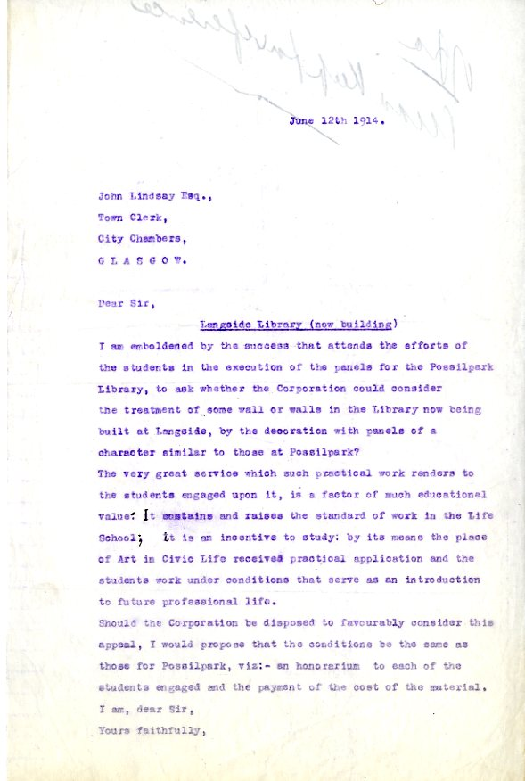 Letter from Francis Newbery to town clerk John Lindsay (Archive Reference: GSAA/DIR/5/24)