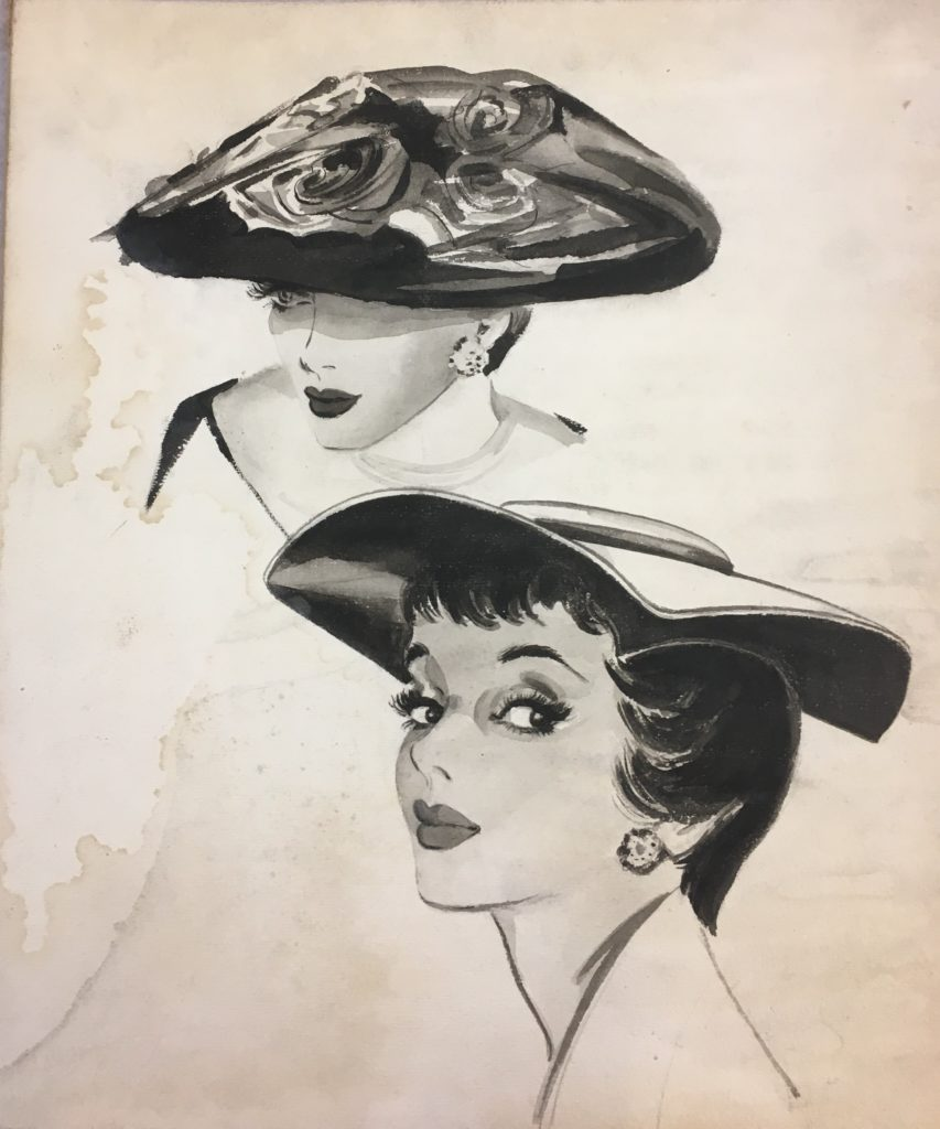 Illustration featuring two face studies with hats by Garcia Hunter (Archive Reference: DC 072/1/29)