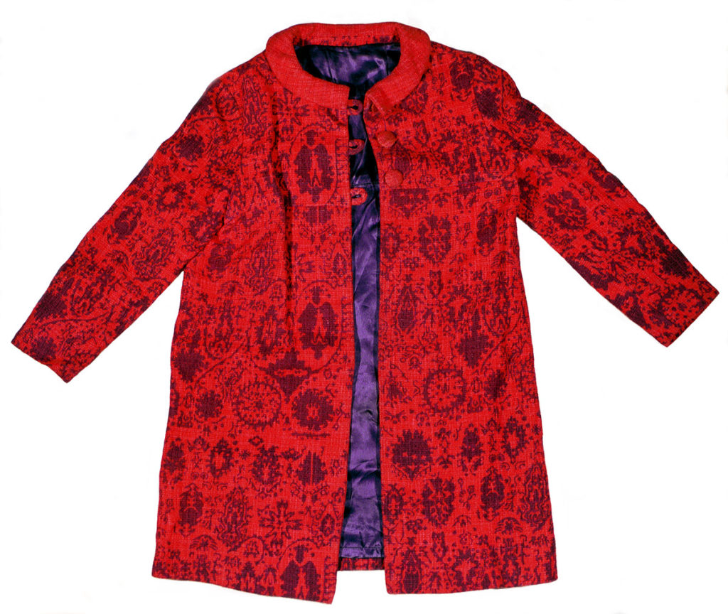 Red coat with printed pattern and purple lining