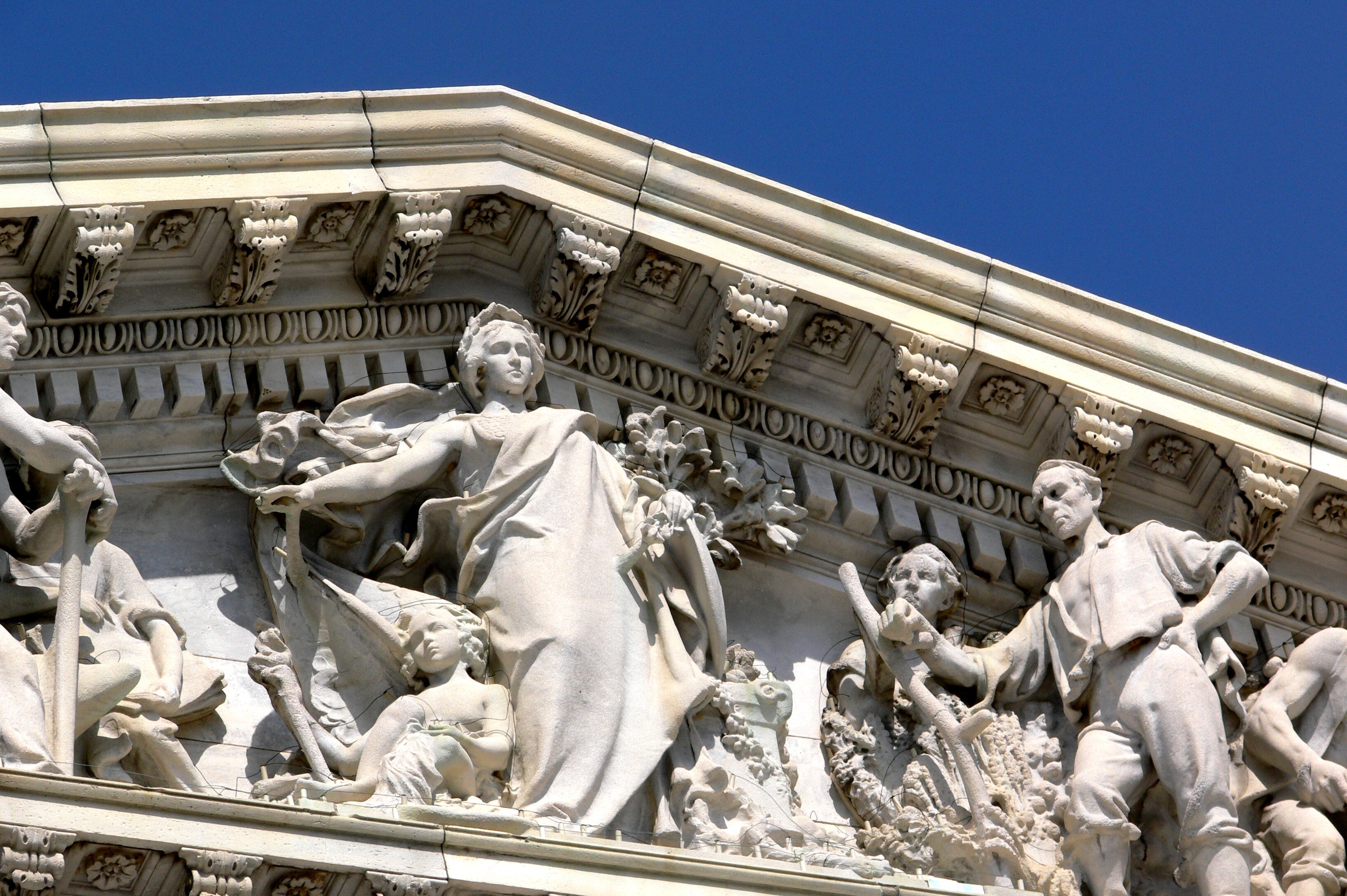 Detail from House of Representatives Capitol pediment in Washington DC